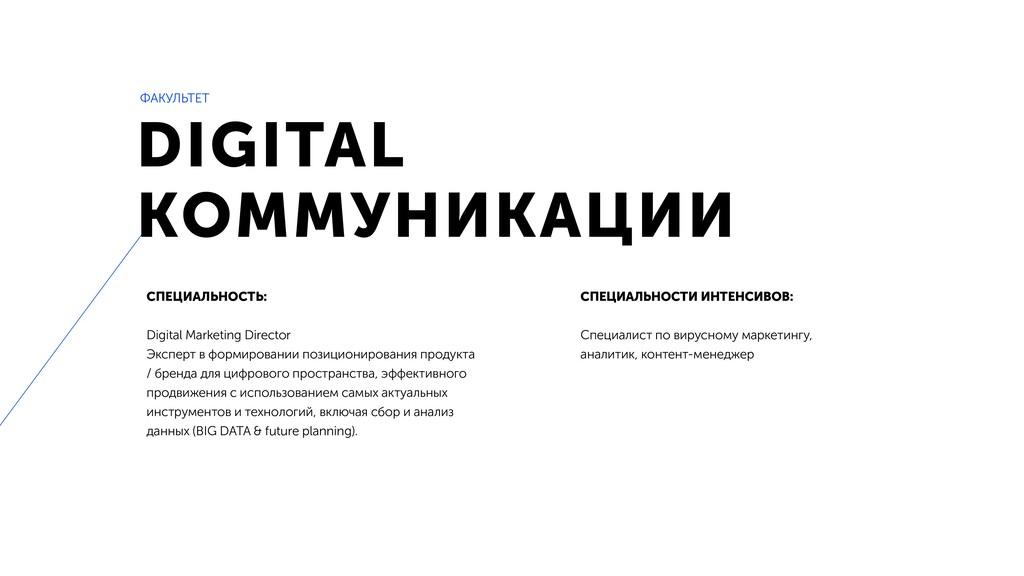 DIGITAL КОММУНИКАЦИИ СПЕЦИАЛЬНОСТЬ: Digital Mar...