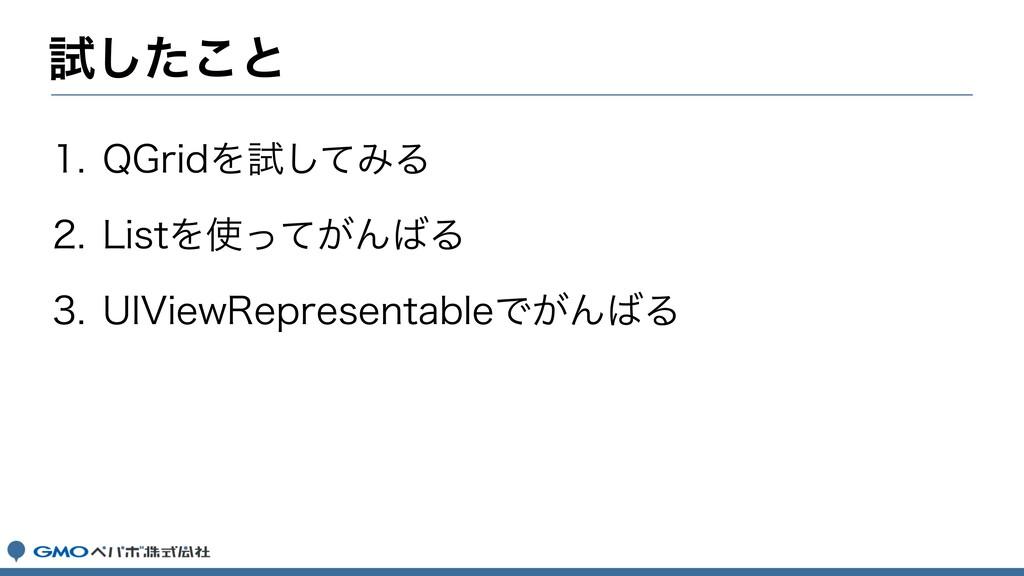 ࢼͨ͜͠ͱ  2(SJEΛࢼͯ͠ΈΔ  -JTUΛ͕ͬͯΜΔ  6*7JF...