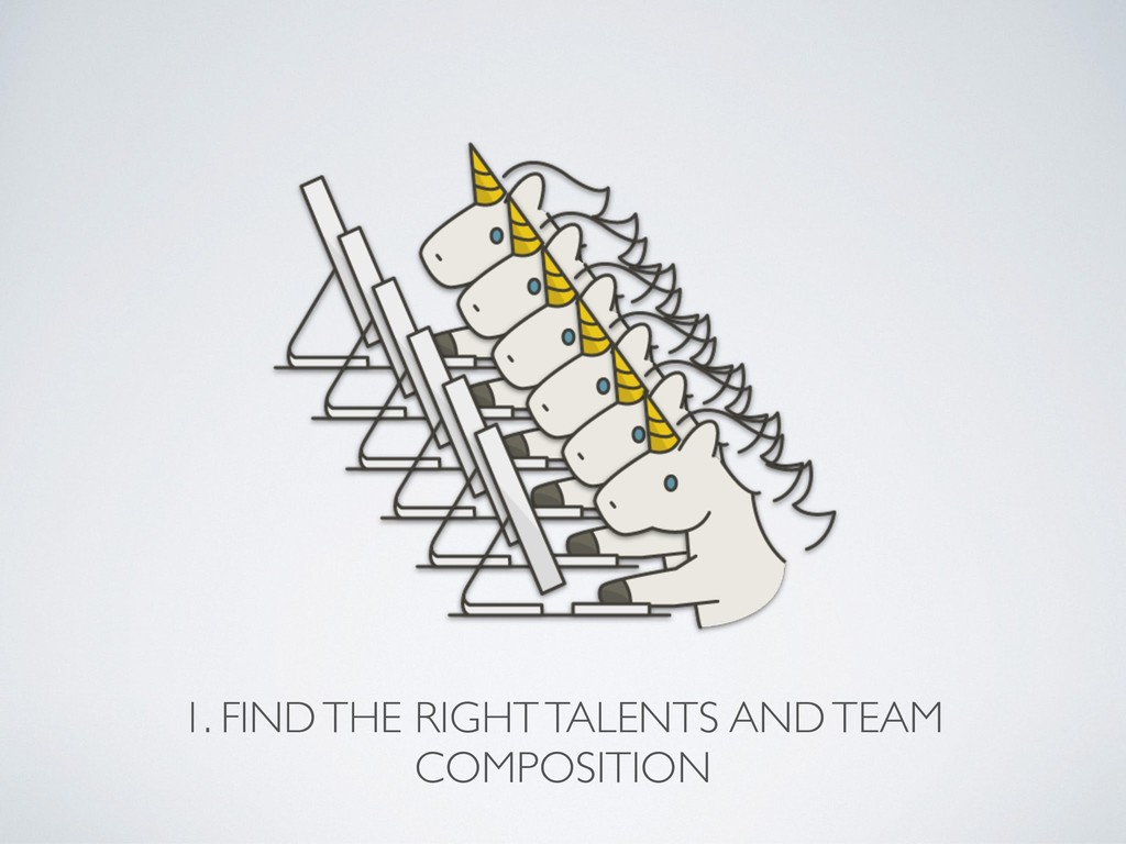 1. FIND THE RIGHT TALENTS AND TEAM COMPOSITION