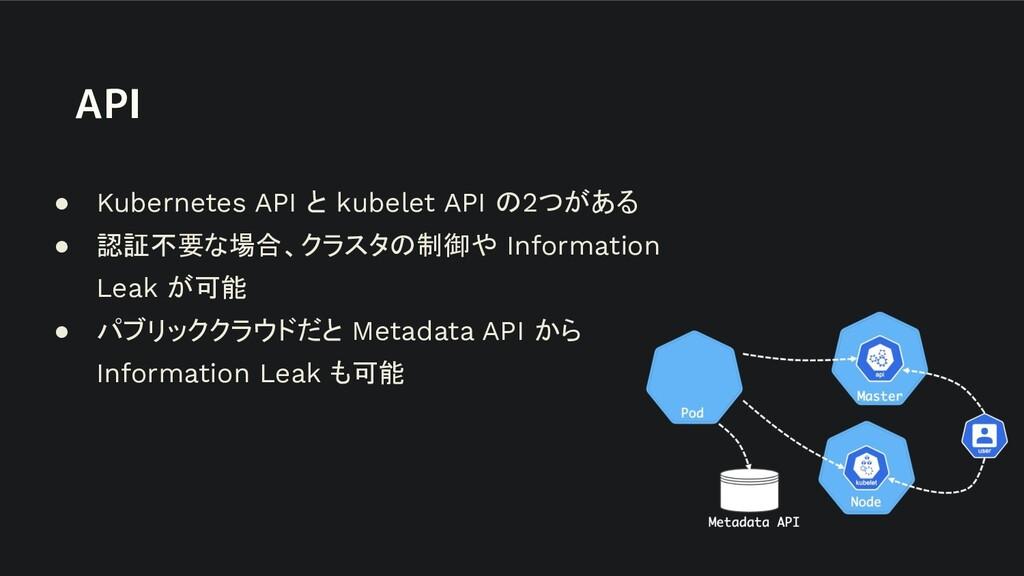 API ● Kubernetes API と kubelet API の2つがある ● 認証不...