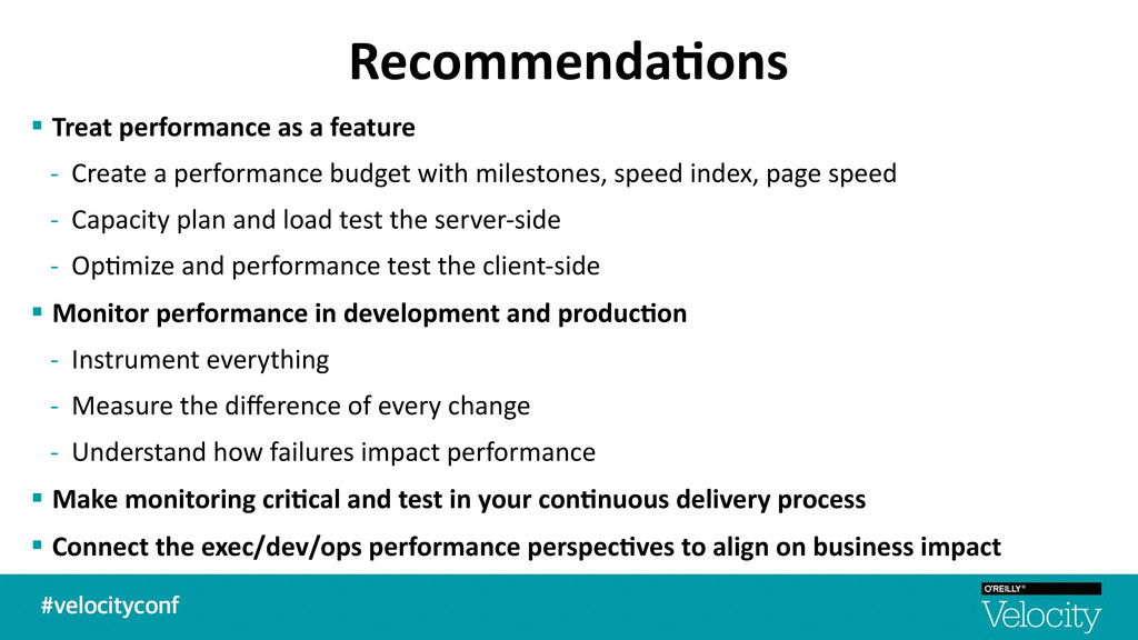 Recommenda7ons § Treat performance as ...