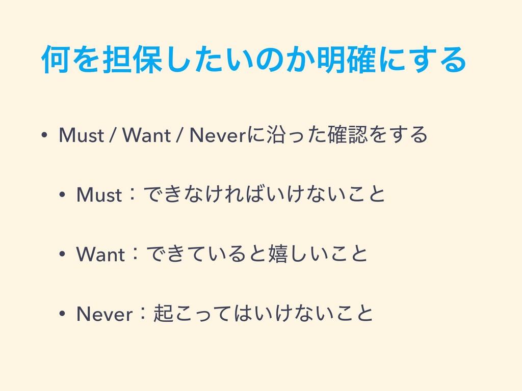 ԿΛ୲อ͍ͨ͠ͷ͔໌֬ʹ͢Δ • Must / Want / NeverʹԊͬͨ֬Λ͢Δ •...