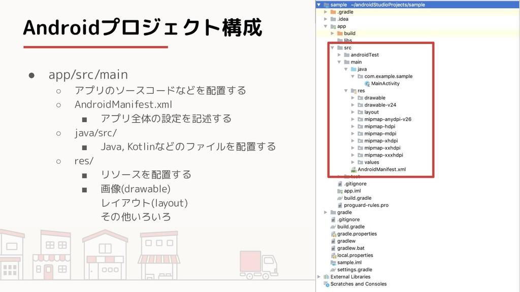 Androidプロジェクト構成 ● app/src/main ○ アプリのソースコードなどを配...