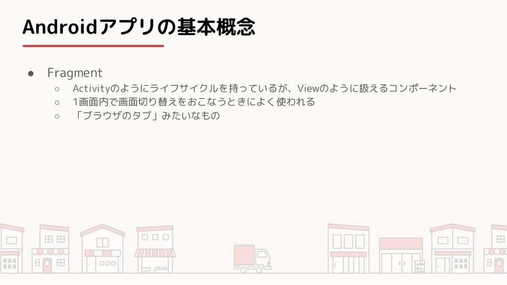 Androidアプリの基本概念 ● Fragment ○ Activityのようにライフサイク...