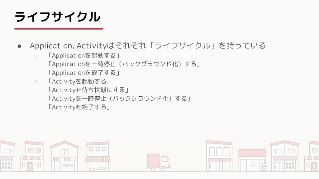 ライフサイクル ● Application, Activityはそれぞれ「ライフサイクル」を持...