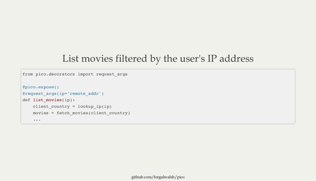 github.com/fergalwalsh/pico List movies filtere...