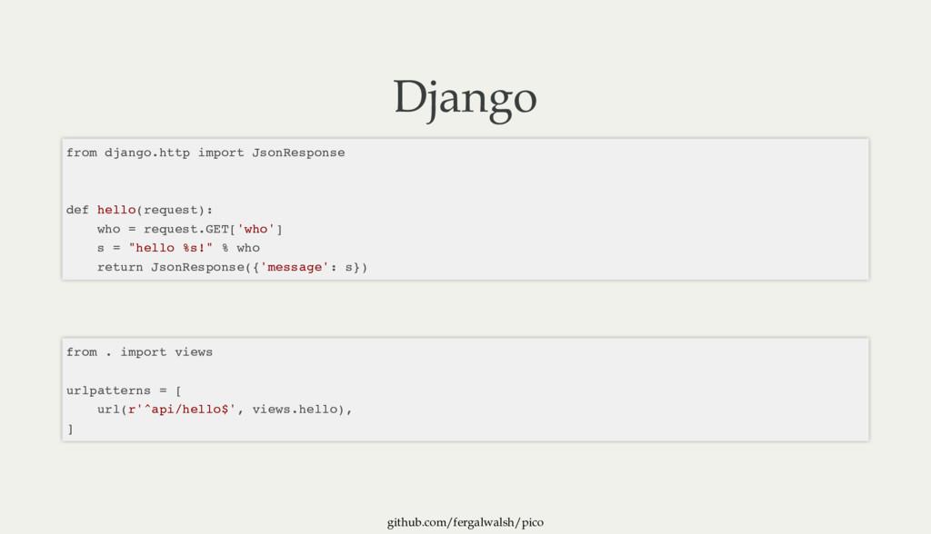 github.com/fergalwalsh/pico Django from django....