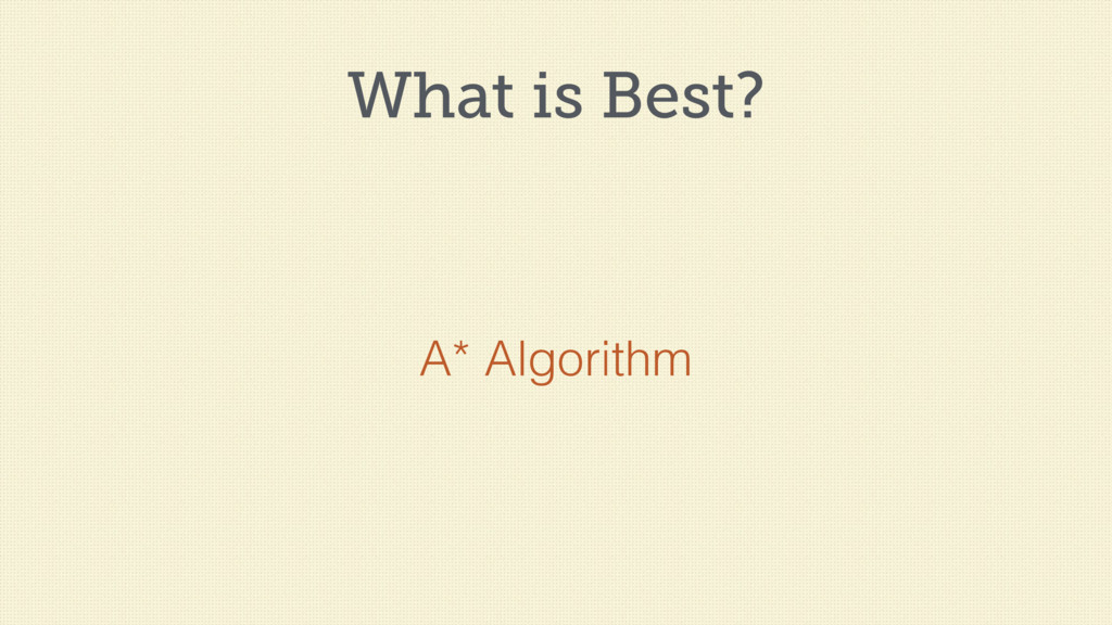 What is Best? A* Algorithm