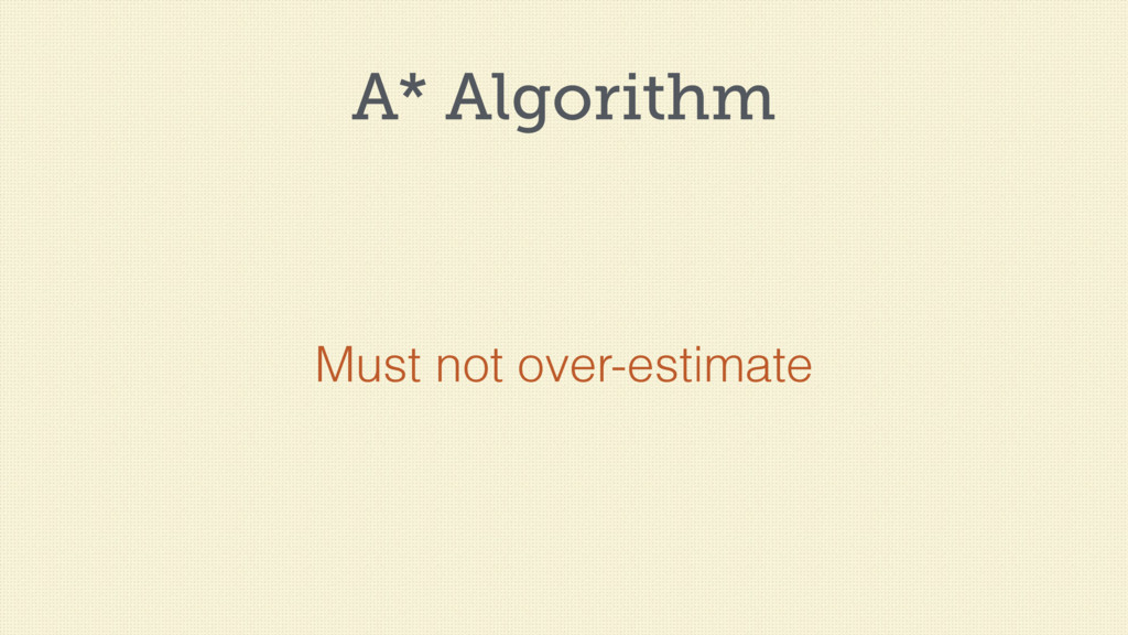 A* Algorithm Must not over-estimate