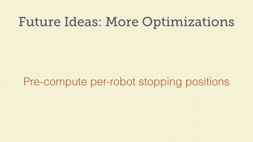 Future Ideas: More Optimizations Pre-compute pe...
