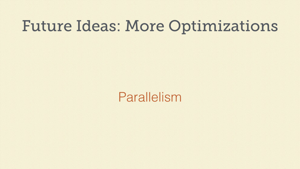 Future Ideas: More Optimizations Parallelism