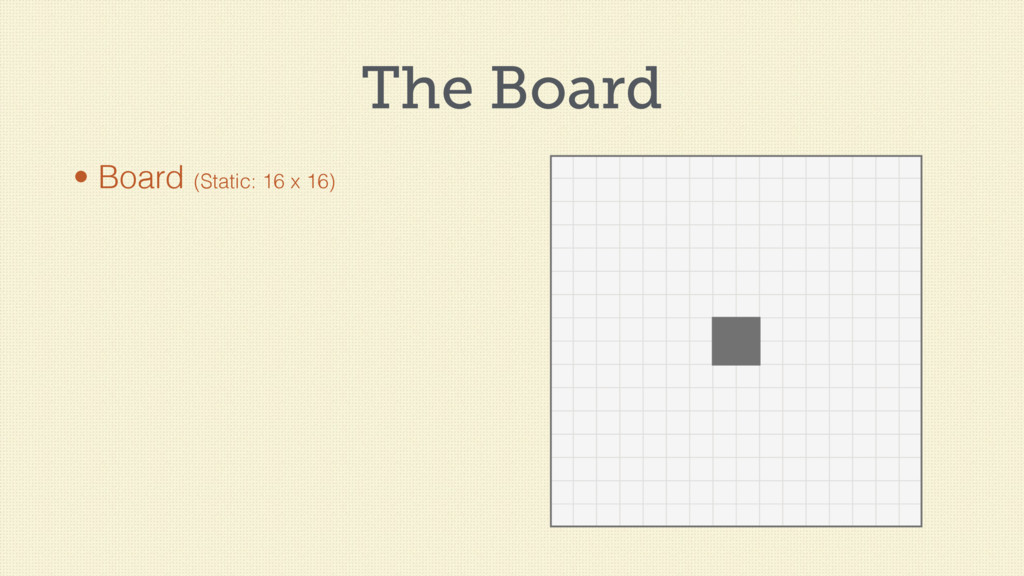 The Board • Board (Static: 16 x 16)
