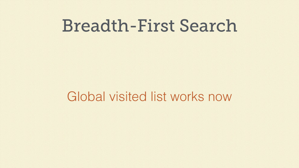 Breadth-First Search Global visited list works ...