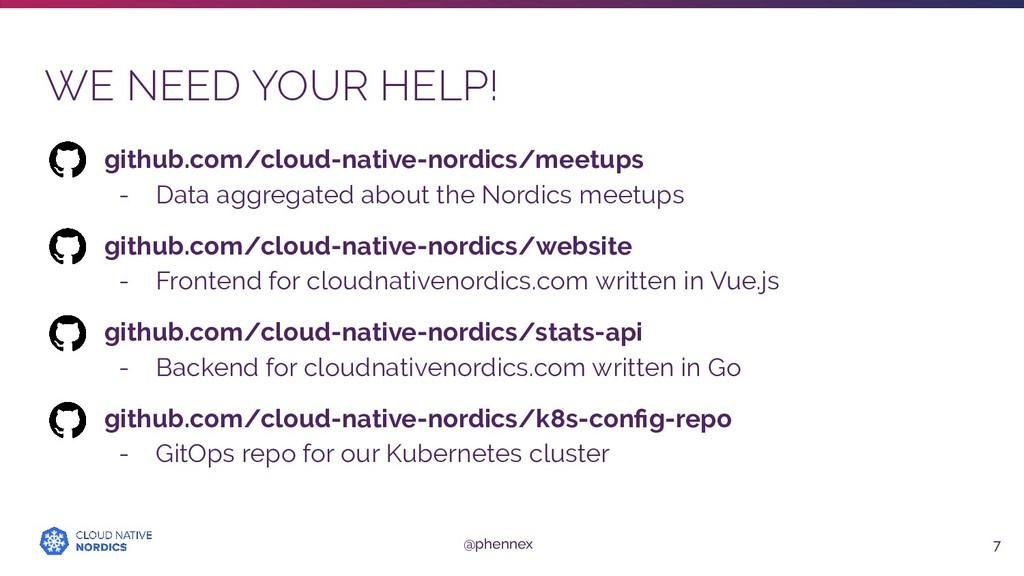 WE NEED YOUR HELP! 7 github.com/cloud-native-no...