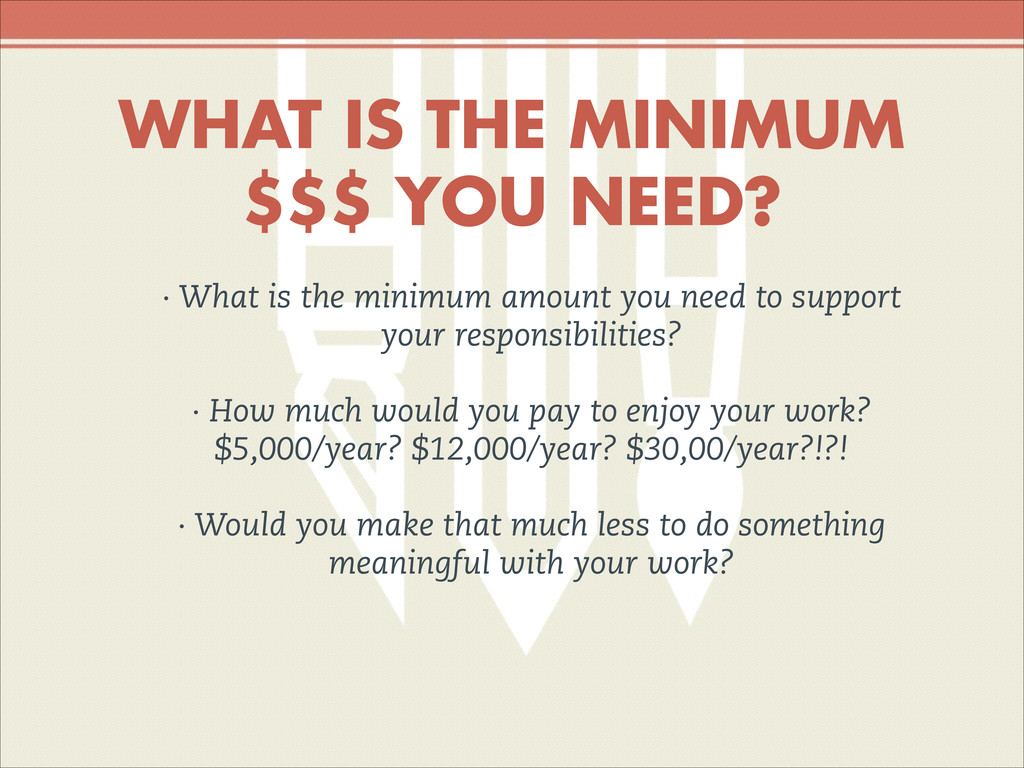 WHAT IS THE MINIMUM $$$ YOU NEED? · What is the...