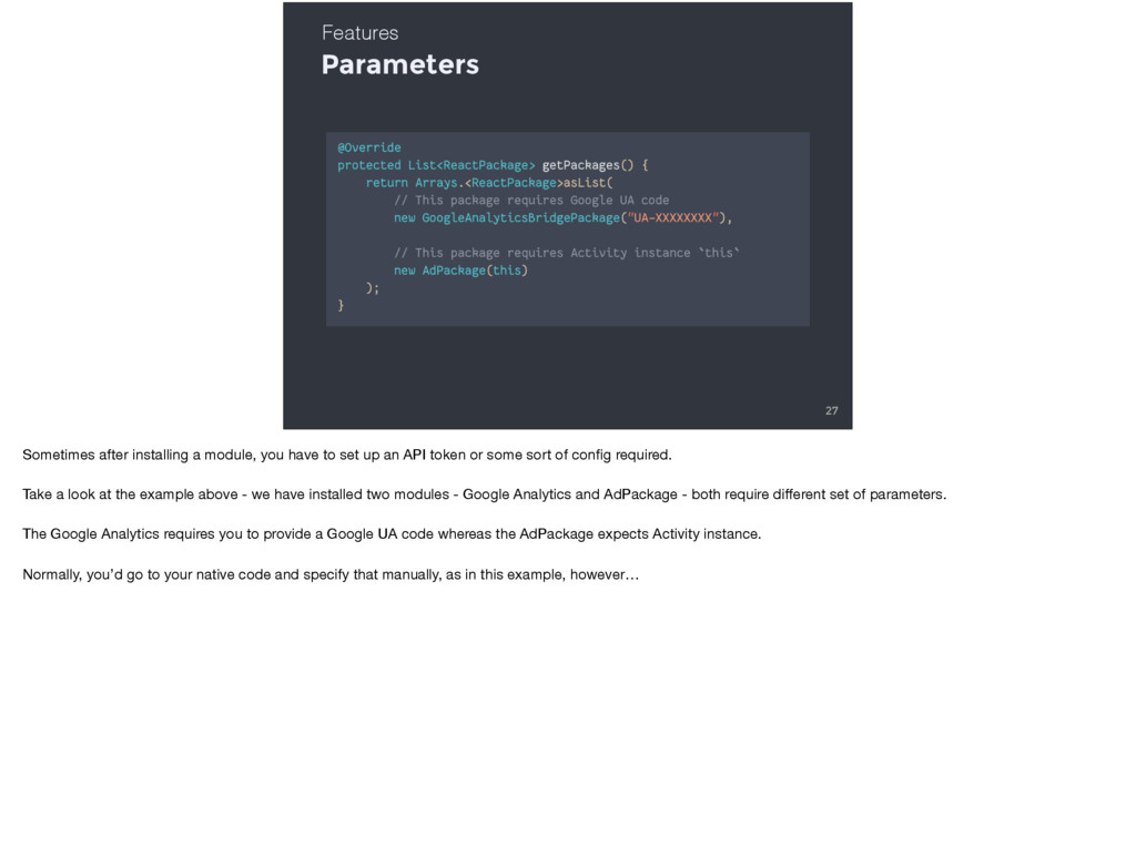 Parameters 27 Features Sometimes after installi...