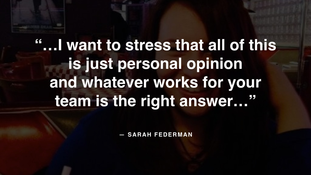"— SARAH FEDERMAN ""…I want to stress that all of..."