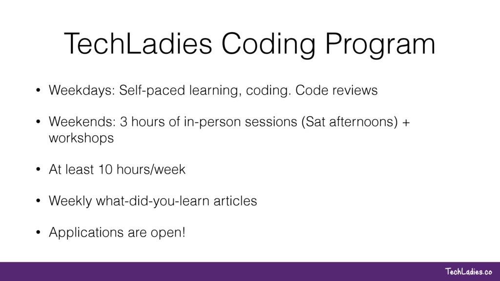 TechLadies.co TechLadies Coding Program • Weekd...
