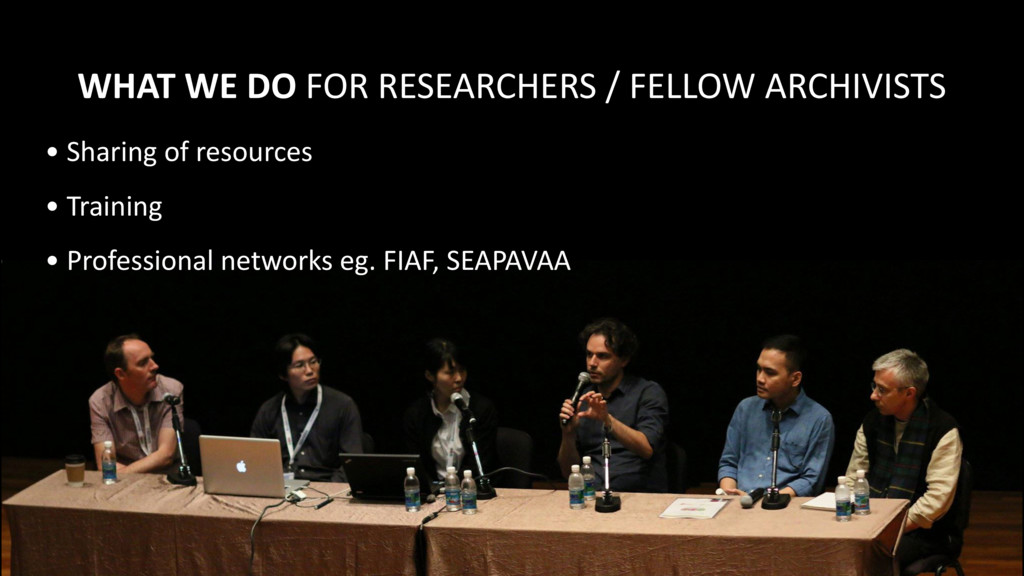 WHAT WE DO FOR RESEARCHERS / ...