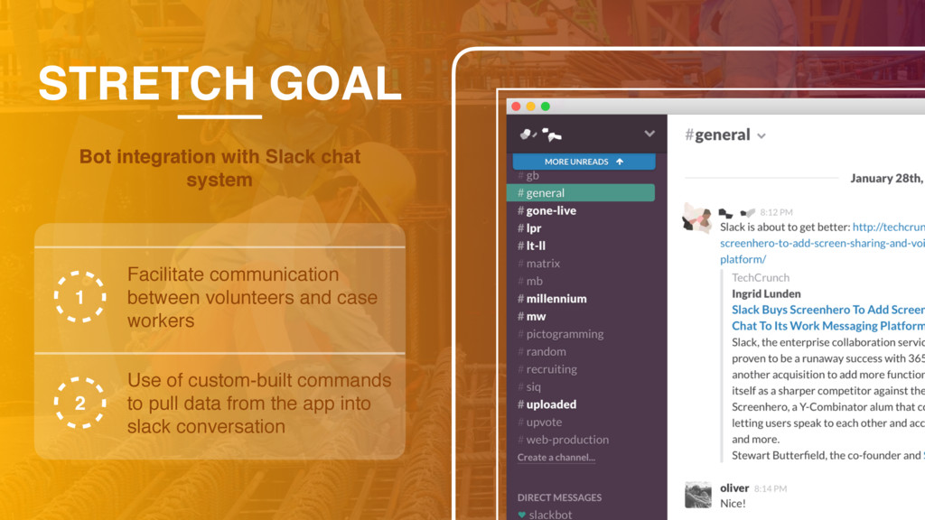 STRETCH GOAL Bot integration with Slack chat sy...