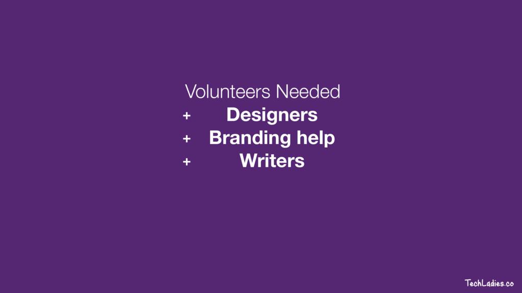 TechLadies.co Volunteers Needed + Designers + B...