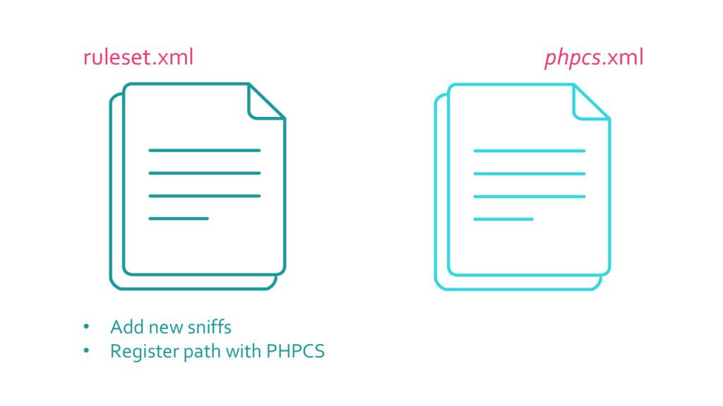 ruleset.xml phpcs.xml • Add new sniffs • Regist...