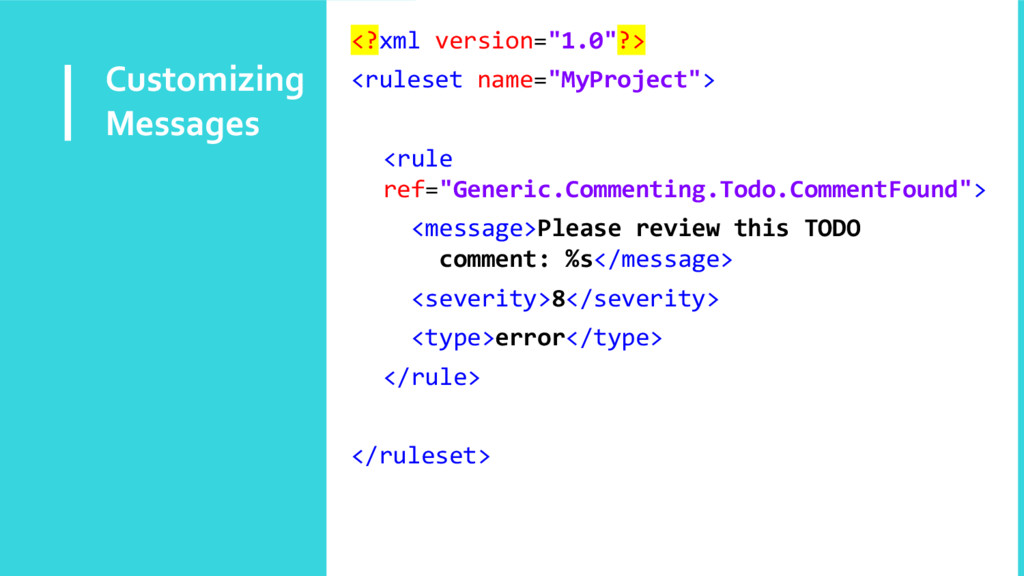 "Customizing Messages <?xml version=""1.0""?> <rul..."