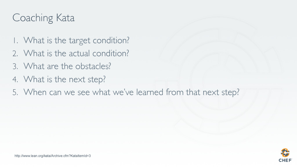 Coaching Kata 1. What is the target condition?...