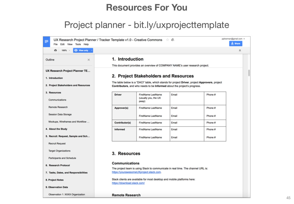Resources For You Project planner - bit.ly/uxpr...