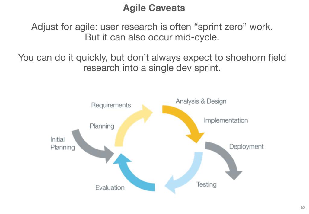 Agile Caveats Adjust for agile: user research i...