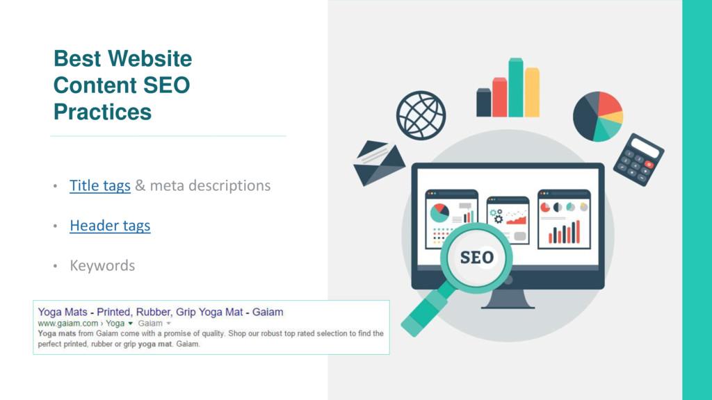 Best Website Content SEO Practices • Title tags...