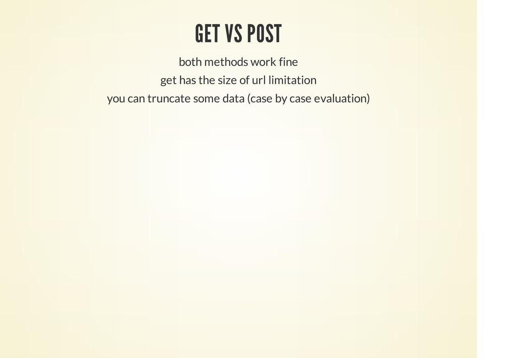 GET VS POST both methods work fine get has the ...