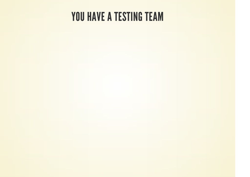 YOU HAVE A TESTING TEAM