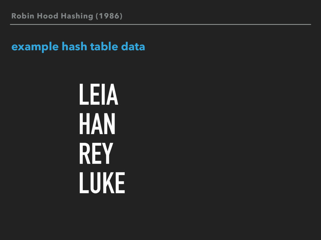 Robin Hood Hashing (1986) example hash table da...