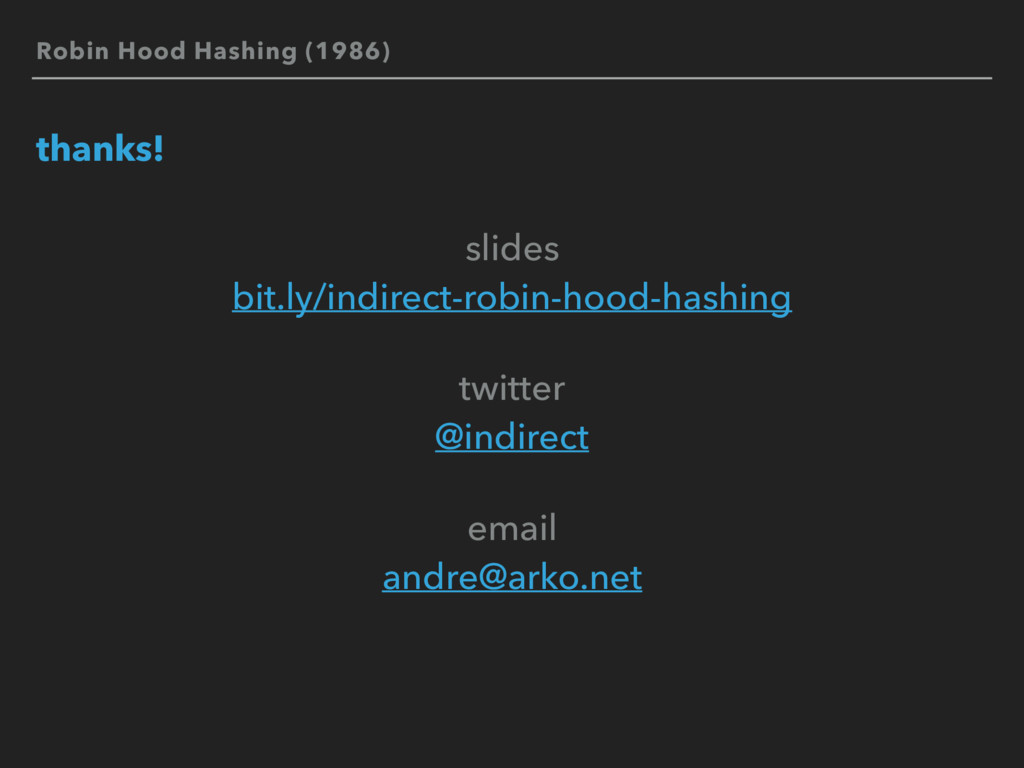 Robin Hood Hashing (1986) thanks! slides