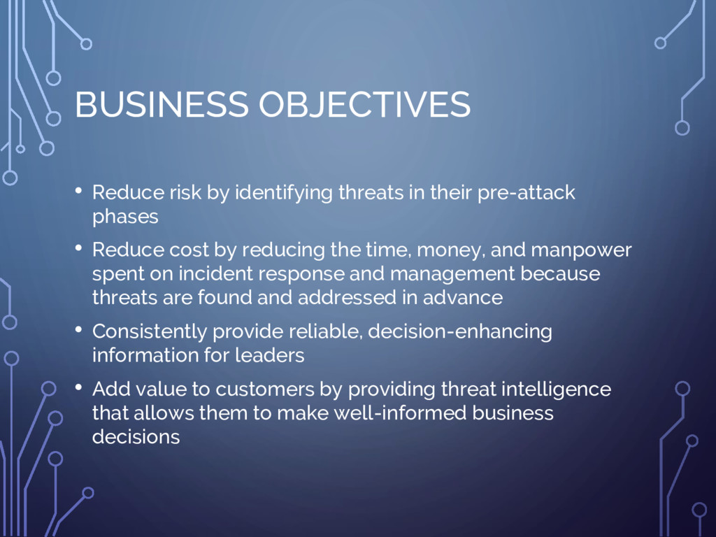 BUSINESS OBJECTIVES • Reduce risk by identifyin...