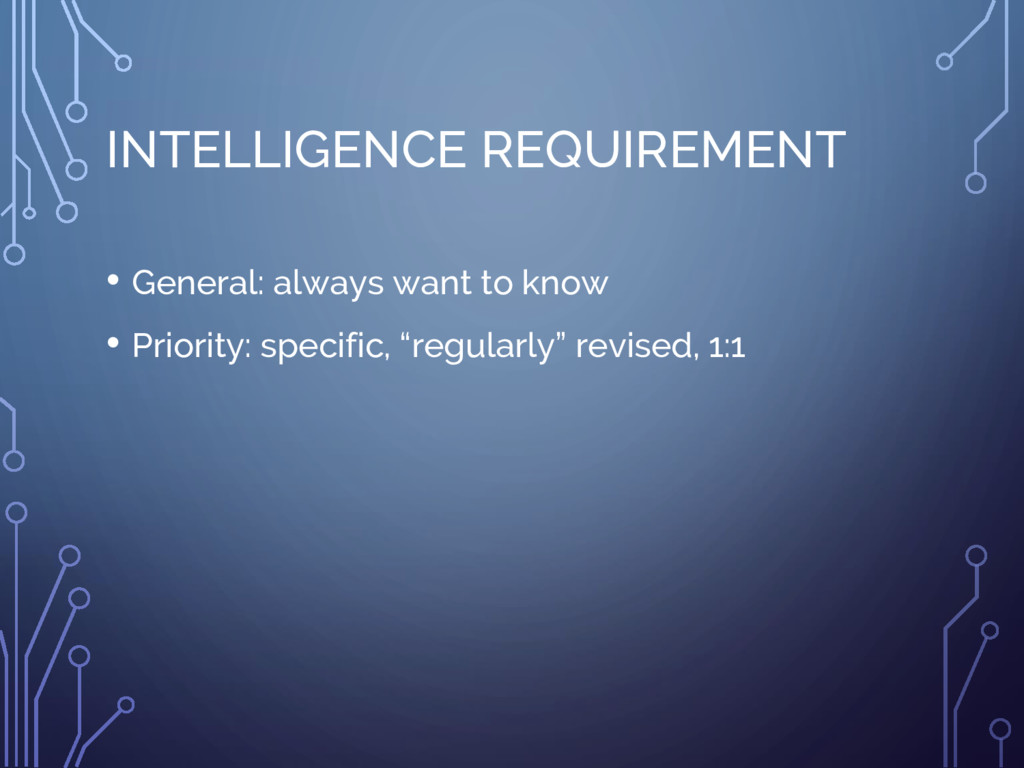 INTELLIGENCE REQUIREMENT • General: always want...