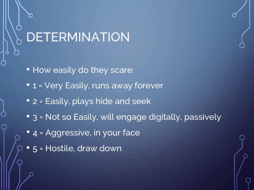 DETERMINATION • How easily do they scare: • 1 =...