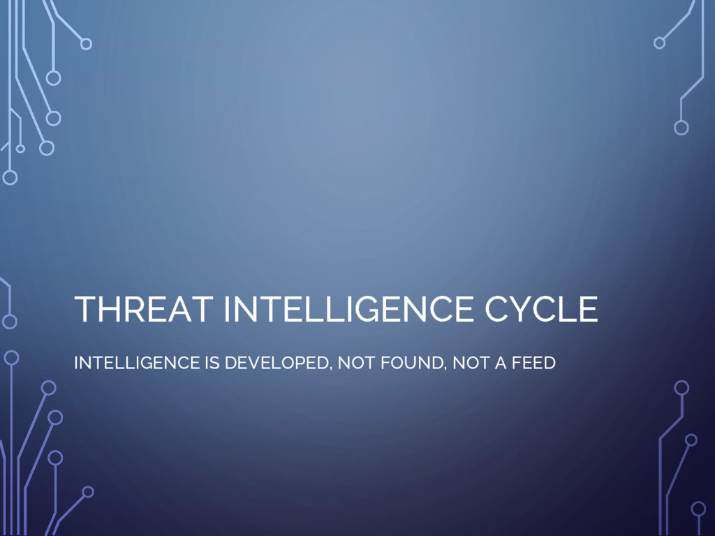 THREAT INTELLIGENCE CYCLE INTELLIGENCE IS DEVEL...
