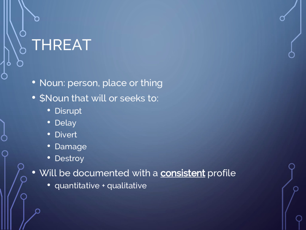 THREAT • Noun: person, place or thing • $Noun t...