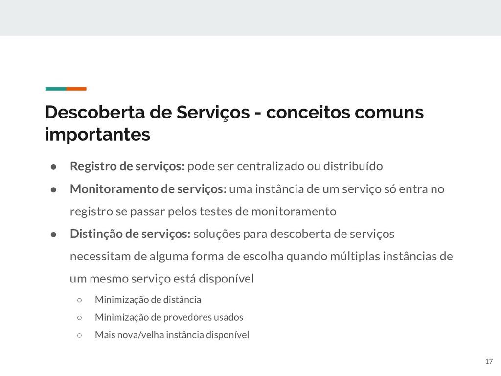 Descoberta de Serviços - conceitos comuns impor...
