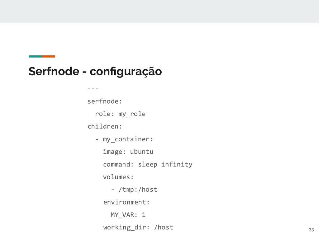 Serfnode - configuração --- serfnode: role: my_r...
