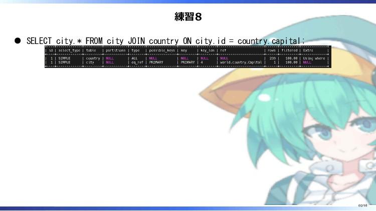 練習8 SELECT city.* FROM city JOIN country ON cit...