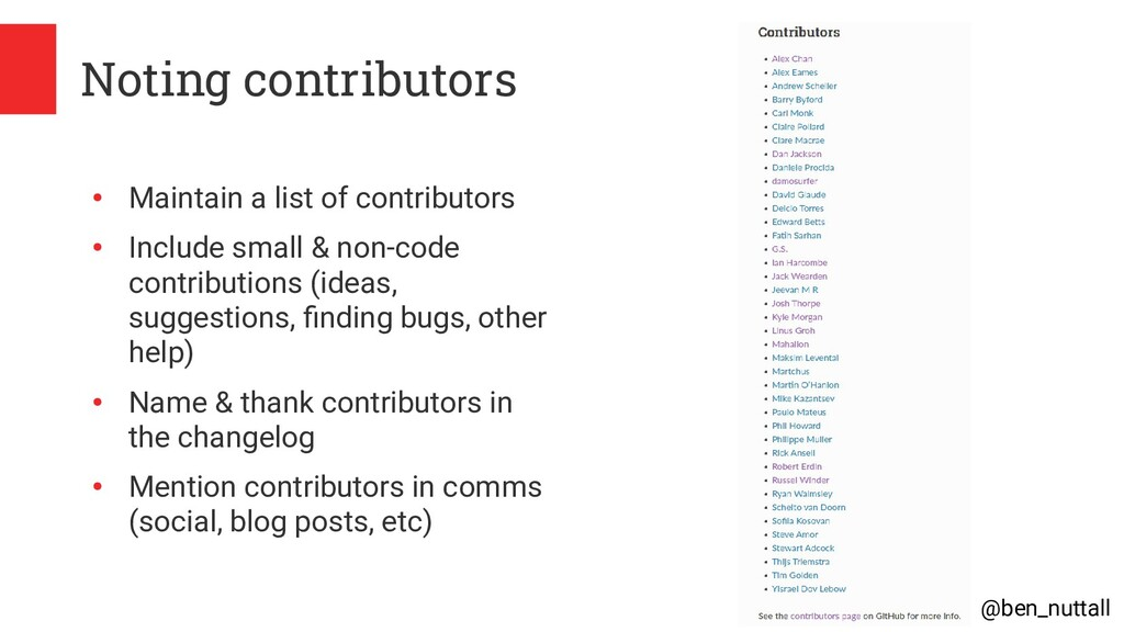 @ben_nuttall Noting contributors ● Maintain a l...