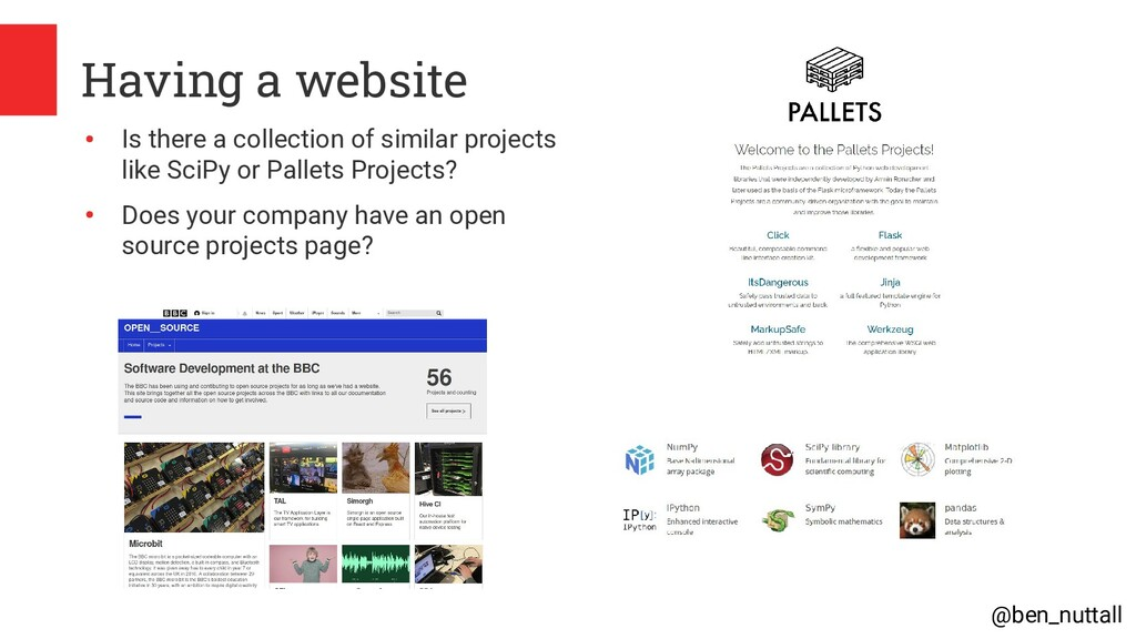@ben_nuttall Having a website ● Is there a coll...