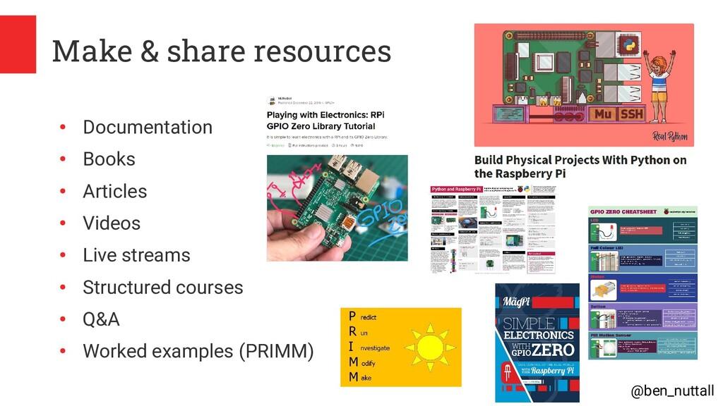 @ben_nuttall Make & share resources ● Documenta...