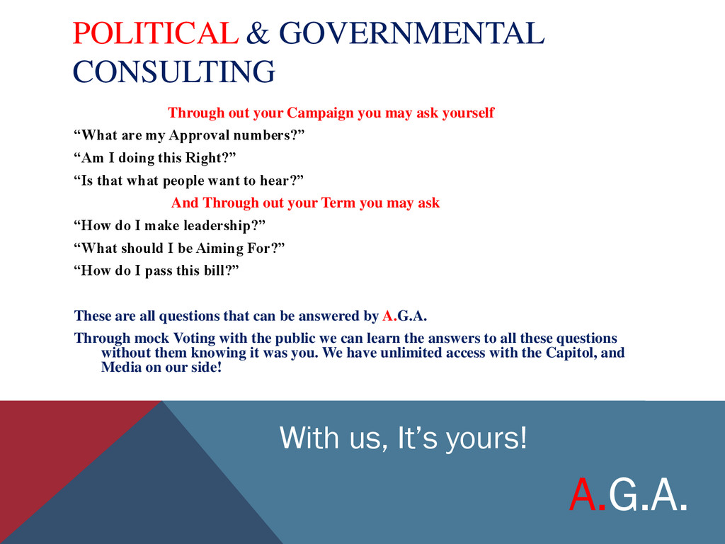 POLITICAL & GOVERNMENTAL CONSULTING Through out...