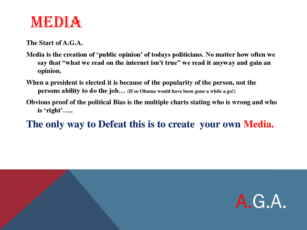 MEDIA The Start of A.G.A. Media is the creation...