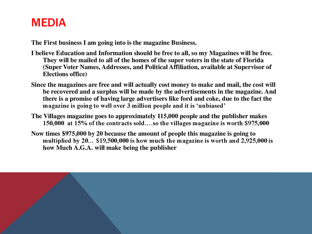 MEDIA The First business I am going into is the...
