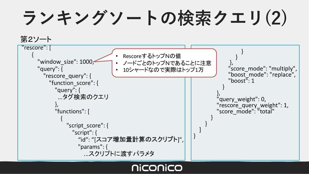 """ランキングソートの検索クエリ(2) """"rescore"""": [ { """"window_size"""":..."""